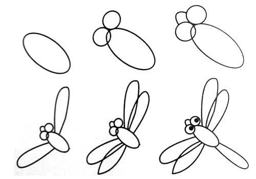 Let's draw a small dragonfly.